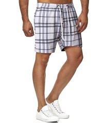 drawstring plaid pattern casual shorts