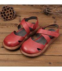 socofy sandali in pelle di stile retro traforati e manofatti in colore a tinta unita