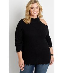 maurices plus size womens black destructed asymmetrical cold shoulder pullover