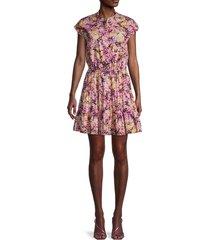 rebecca minkoff women's ollie floral mini dress - purple multi - size xl