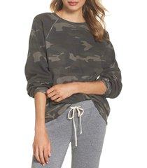 women's ragdoll camo oversize sweatshirt, size large - green