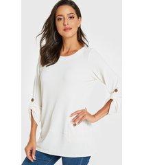 camiseta de manga larga con diseño de bolsillo blanco yoins