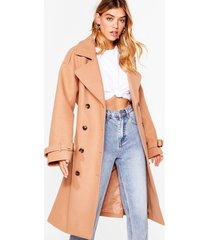 womens faux wool longline belted coat - camel