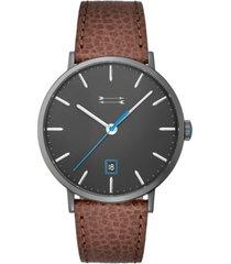 uri minkoff men's norrbro brown leather strap watch 40mm