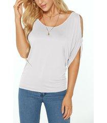 white scoop cuello amarre de hombros fríos en la camiseta de la espalda