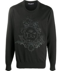 dolce & gabbana embroidered wool-silk sweatshirt - black