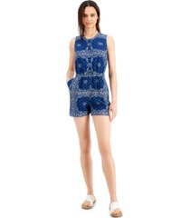 style & co petite printed woven romper, created for macy's