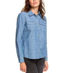 roxy juniors' cotton heart-print boyfriend shirt
