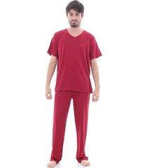 pijama  algodão mechler longo vermelho