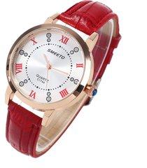 orologi da polso in pelle di lusso da donna orologio da polso al quarzo impermeabile con grandi numeri di strass roma