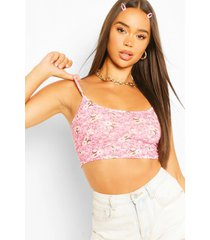 floral ditsy print strappy crop top, pink