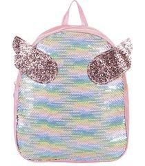 mochila rosa trendy 8570 alas glitter