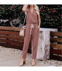 zanzea verano de las mujeres sin mangas elásticas de cintura suelta monos monos pantalones -rosado