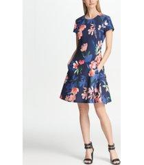dkny short sleeve floral fit & flare dress