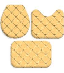 kit 3 tapetes decorativos para banheiro wevans amarelo