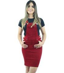 jardineira salopete evangelica anagrom brim vermelha - vermelho - feminino - algodã£o - dafiti