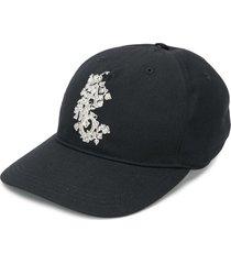 alexander mcqueen leaf logo embroidered baseball cap - black