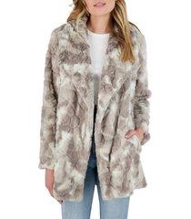 women's bb dakota swirls gone wild faux fur coat, size small - grey