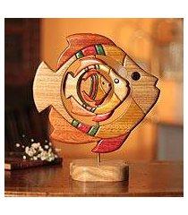 cedar and mahogany sculpture, 'fish family' (peru)