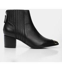 botines tacón de cuero para mujer puntera metálica
