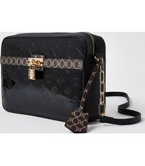 river island womens black monogram patent crossbody bag