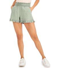 vanilla star juniors' smocked-waist ruffled-hem shorts