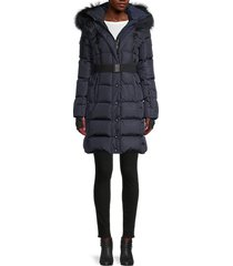 sam women's matte infinity fox fur-trim & down puffer jacket - navy charcoal - size m