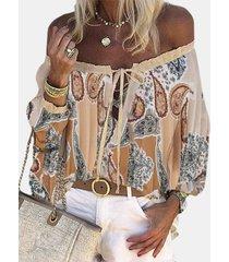 camicetta da donna a maniche lunghe con spalle scoperte con stampa boemia plus