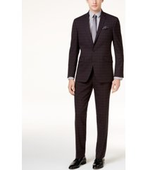 kenneth cole reaction men's slim-fit black plaid sheen ready flex suit