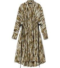 painted stripe marocain drawstring dress