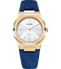 d1 milano denim strap watch - gold