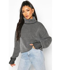 2 tone rib crop roll neck sweater, black
