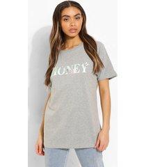 oversized bloemenprint honey t-shirt, grey marl