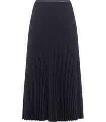 prada logo pleated midi skirt