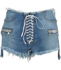 unravel unravel project lace-up denim shorts
