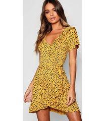 dalmatian wrap front ruffle tea dress, mustard
