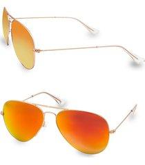 aqs women's james 58mm aviator sunglasses - yellow