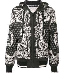 dolce & gabbana bandana print zip-up hoodie - black