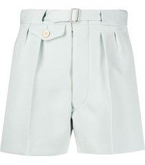 maison margiela belted cotton shorts - blue