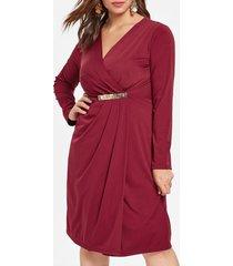 plus size high slit surplice dress