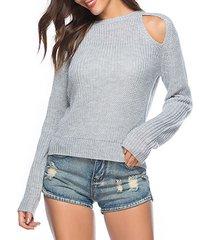 maglioni casual da donna a maniche lunghe in puro colore a spalla fredda