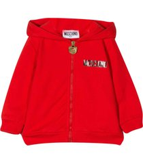moschino red hoodie with multicolor press