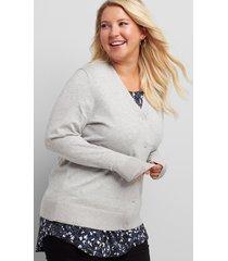 lane bryant women's v-neck button-front cardigan 10/12 medium heather grey