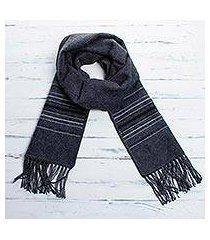 men's alpaca blend scarf, 'andean clouds in charcoal' (peru)