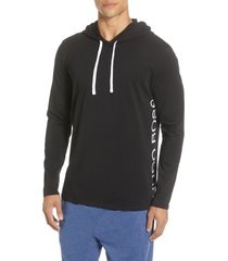 men's boss identity stretch cotton hoodie, size x-large - black