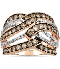 champagne & white diamond multi-row openwork statement ring (1-1/2 ct. t.w.) in 10k rose gold