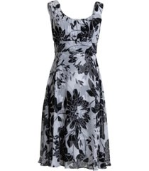connected floral-print chiffon fit & flare dress