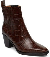 western ankle boots shoes boots ankle boots ankle boots with heel brun ganni