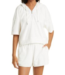 women's club monaco short sleeve quarter zip terry cloth hoodie, size large - white
