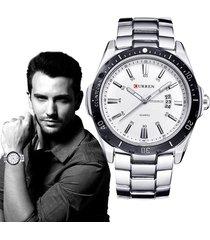 analógico hombre reloj curren acero inoxidable reloj casual (plata)